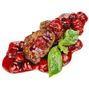 Медальоны из говядины с вишнево-винным соусом